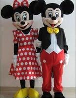 1pcs / lot Mickey Minnie de la historieta del traje de los pares de Mickey Mouse traje de la mascota de la historieta del tamaño adulto del traje de mascarada diversos fiesta de disfraces