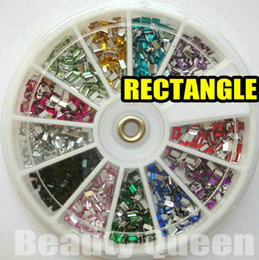 1800pcs 12color Rectangle Shape Rhinestone Glitter Nail Art beads Acrylic Tips acrylicstone in Wheel