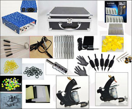 Wholesale New Top quality ordinary two guns Tattoo kit with bottle of tattoo inks Tattoo Needles