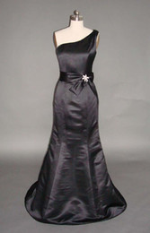 Wholesale In Stock Real Sample One Shoulder Ribbon Mermaid Black Satin Long Bridesmaid Dress Dresses