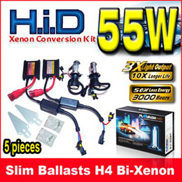 5 Sets 12V 55W H4 H L H4-3 9003 Bi-xenon Black Slim Ballasts HID Xenon Conversion Kits 6K 8K 10K 12K
