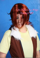 Wholesale New Lockon Stratos Mobile Suit Gundam Anime Costume Cosplay Party Hair Full wig J23