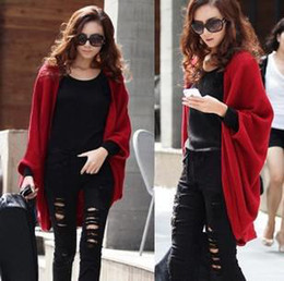 Wholesale Hot Korea Autumn Womens Fashion Leisure Cardigan Knitting Coat Red Black