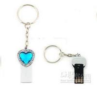 Wholesale crystal Heart Shape key chain USB Flash Drive U Disk U Stick Real GB GB GB GB Memory EMS