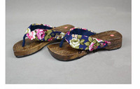 Wholesale New Lady Clogs Shoes Silk Flip flops Japanese style flat slippers flip slippers pair mix Free
