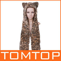 Wholesale Multifunctional Cartoon Animal caps Leopard Plush Soft Warm Cap winter Hat Earmuff Scarf wn H2772