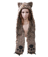 Wholesale Fashion high quality Cartoon Animal caps Leopard Plush Soft Warm Cap winter Hat Earmuff Scarf H2772