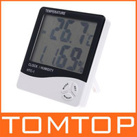 Household Hygrometer  LCD Digital Temperature & Humidity Meter Thermometer Hygrometer Clock 10% ~ 99% RH H596 sample price