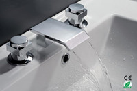 faucet - New Arrival Two Handles Widespread Chrome Waterfall Faucet For Bathroom M