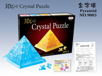 Wholesale D Crystal Puzzle Toys Pink Yellow Blue Pyramid LED puzzle light