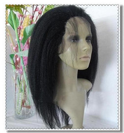 14-22inches silk top full lace wig Indian virgin hair kinky straight #1b