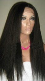 14-22inches hot sale kinky straight 100% Indian remy hair full lace wigs