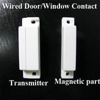 Wholesale 10pcs Wired Door Window Contact Magnetic Sensor for PSTN and GSM Home Alarm System AT DC01W