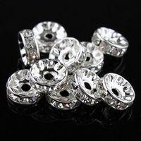 al por mayor crystal rondelle beads-10MM / 12MM Clear Rhinestone Rondelle espaciador de los granos de cristal, joyería plateada de plata resultados 100pcs