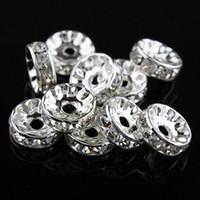 al por mayor separador de metal perlas de diamantes de imitación-Los granos cristalinos claros del espaciador de Rondelle del Rhinestone 10MM / 12MM, platearon los resultados 100PCS de la joyería