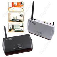 Wholesale 10pcs GHz CH Wireless Emitter AV Audio Video Transmitter Receiver System for STB CCTV Monitor