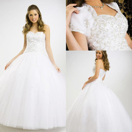 Wholesale 2015 New Quinceanera Dresses sweetheart neck beaded embroidered white ball gown quinceanera prom dress price under Formal Dress CS02