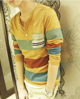 Wholesale 100 cotton new top quality latest men s long sleeve stripe t shirt shirts red