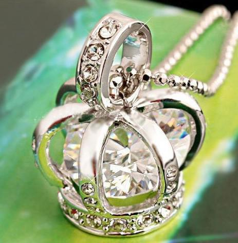 12pcs/lot free shipping silver color bird cage costume crown pendant necklace with crystal zircon sw