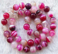 Wholesale DIY semi finished products Pink Veins Agate Round Shape Beads mm inches