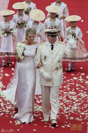 Wholesale Moroccn Princess Wedding Dresses Shoulder Crystal Beads Embroidery Watteau Train Bride Dress