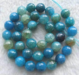 DIY semi-finished products excellent quality Blue Crack Agate Faceted Round Beads 10mm 14.5inchs