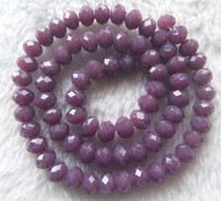 faceted glass stones - Purple Quartz Glass Faceted Rondelle Beads x8mm inch