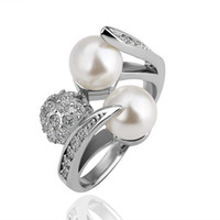 Wholesale Top quality plated K gold inlaid pearl rhinestone crystal ring fashion classic jewelry wedding gift