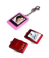 Wholesale 1 inch Mini Digital photo frames square electronic albums of Key Ring Frame XMAS gift