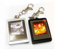 Wholesale 1 inch Mini Digital photo frames electronic albums of Key Ring Frame USB charger line XMAS gift