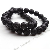 Wholesale 4 string Hot Black Volcanic Lava Gemstone Loose Charms Beads Fit Diy Bracelets mm