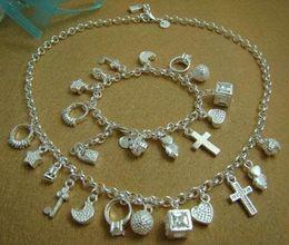 Wholesale - Retail lowest price Christmas gift 925 silver fashion new Necklace+Bracelet set S72
