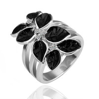 Wholesale 18K white gold ring green crystal leaves anti allergic materials independent PP bag