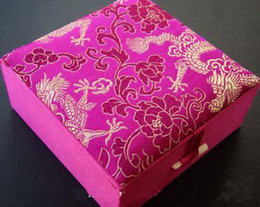 Brocade Bangle Boxes Gift Box Jewelry size 4x4x1.8 inch 48pcs lot Mix Color Silk Cotton Filled