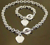 Wholesale Retail lowest price Christmas gift silver love Necklace Bracelet set S76