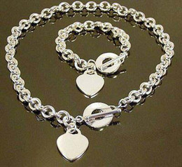 Wholesale - Retail lowest price Christmas gift 925 silver love Necklace+Bracelet set S76