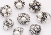 Wholesale 24pcs Tibet Silver Pearl Crystal Cocktail Rings Wedding Ring Costume Rings Fashion Ring RP25