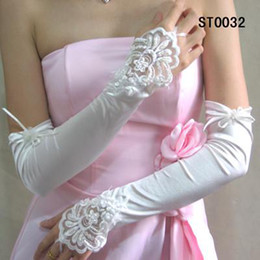 Wholesale exqusite white Bridal Gloves Wedding Gloves lace bowknot wedding accessories long sleeve seyxy glove