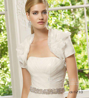 Wholesale Strapless A Line Beads Chapel Train Satin Wedding Dresses Organza Bride Prom Dress Free jacket