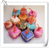 Wholesale Silk Satin Gift Boxes - Pretty Mirror Mini Wedding Candy Favor Boxes Chinese knot Silk Printed gift Packaging Cases 48pcs lot mix color style Free shipping