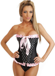 Wholesale Sexy Women s Burlesque Pink lace up Black Boned Corset G string costume corset G string