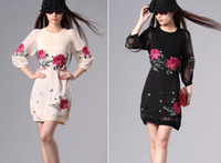 Round beautiful dresses - Fashion Dresses Plus size Beautiful Flower Embroidery Silk Casual Dress