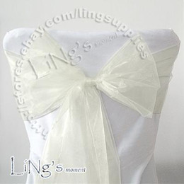 Tracking number--100pcs IVORY Wedding Party Banquet Chair Organza Sash Bow