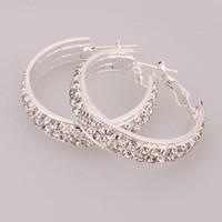 Wholesale Large Earrings Hoop Earrings Large Rhinestone Earrings Perfect Gift Ship From USA Pairs S2053L