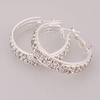 Wholesale Large Earrings Hoop Earrings Large Rhinestone Earrings Perfect Gift Ship From USA Pairs S2053L