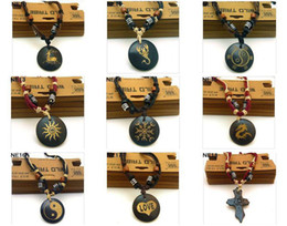 Wholesale No Choice Mens Tribal Leather Bone Pendants Necklaces Multi shape Xmas Gift Mix Order