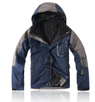 Wholesale Navy blue Men outdoor jacket warm in1 fleece waterproof breathable windbreaker jacket Size S XXL