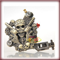 Empaistic Machines skull tattoo gun - Skull Empaistic Tattoo Machine Gun Brass Color for Liner and Shader wrap coils Kit Supply