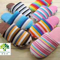 Wholesale 20pcs L indoor rainbow stripe warm slippers cotton slipper plush slipper floor slippers