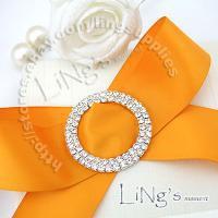 Wholesale-Lowest price! 10PCS Wedding Chair Sash 5cm Round Silver A-GRADE Diamante Buckle